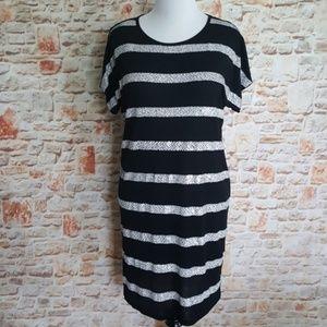 New Michael Kors Black/White Stripe Dress